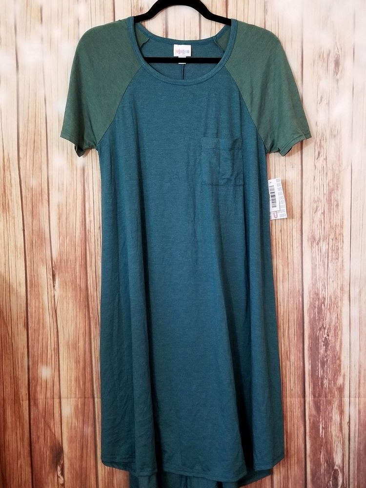389d4b64ddb LuLaRoe Carly S Heathered Teal Green Sleeves Small High Low Swing Dress NWT   LuLaRoe