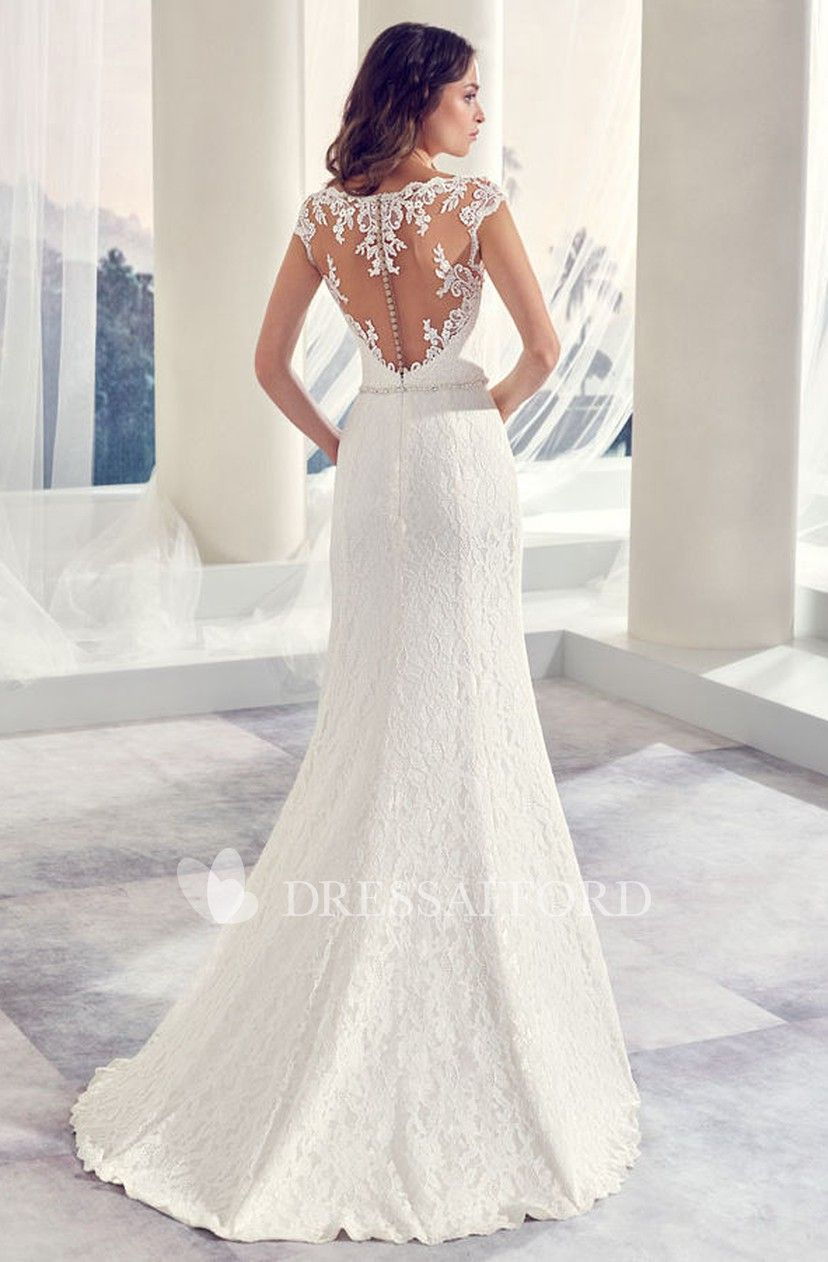 Scoop Neck Cap Sleeve Sheath Lace Wedding Dress With Split Front And Beading Dress Afford Wedding Dresses Sheath Wedding Dress Lace Wedding Dresses Lace [ 1262 x 828 Pixel ]