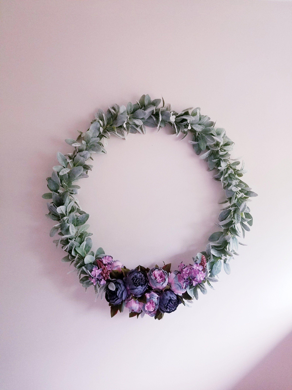 Photo of 27 Inch Hoop Wreath, Lambs Ear Wreath, Purple and Gray Nursery, Photo Backdrop