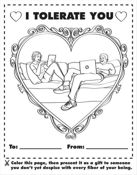 I Tolerate You Coloring Page Silliness Funny Valentines Day
