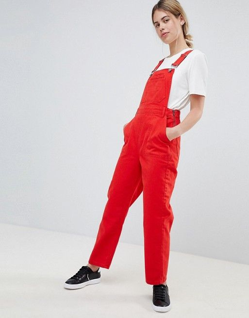6cc183ee452f DESIGN denim overall in red in 2019