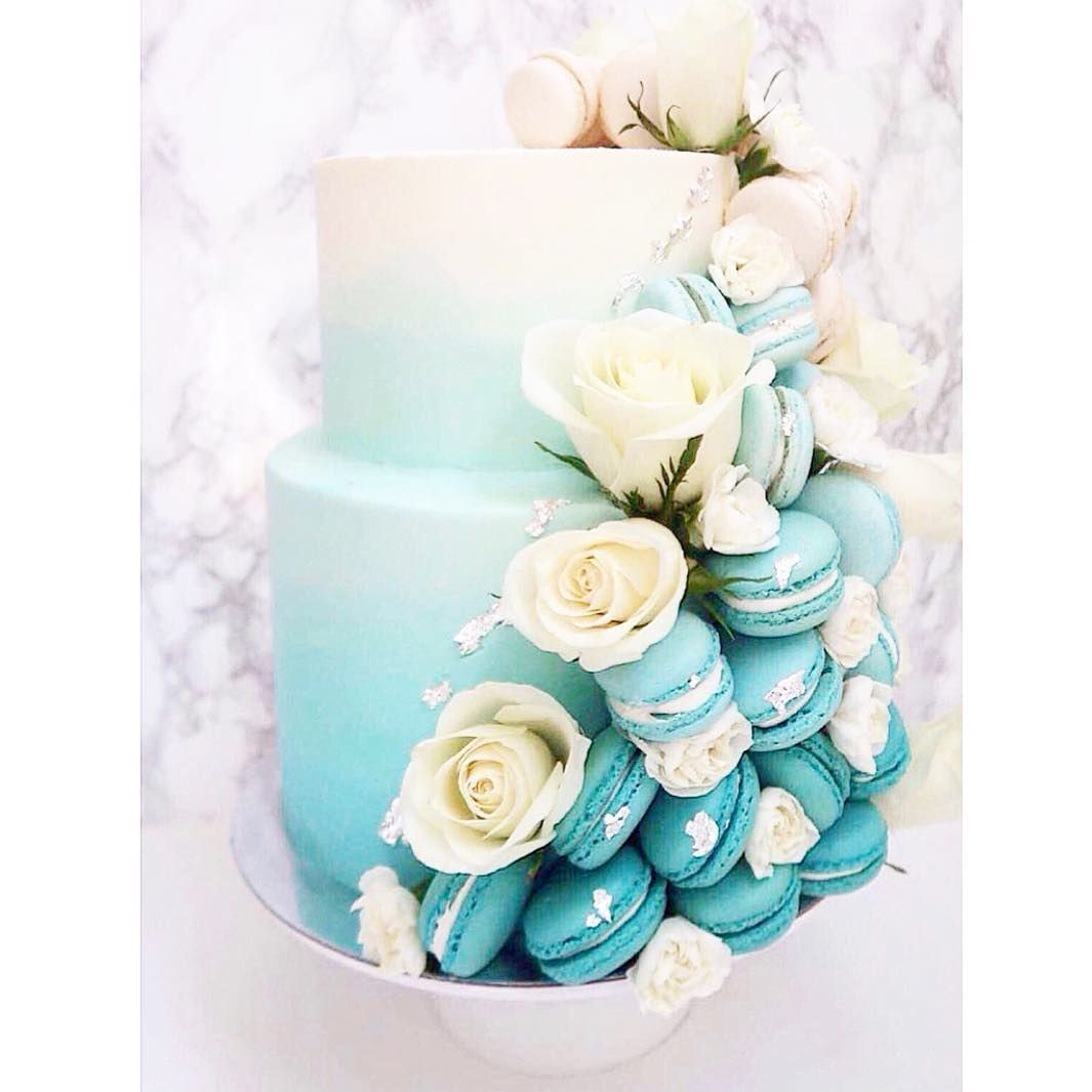Macaronslady On Instagram Tiffany Blue Two Tier Ombrecake With