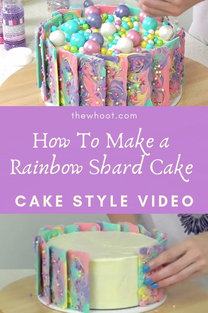 Stunning Rainbow Chocolate Shard Cake {Video Tutorial} #cakedecoratingvideos