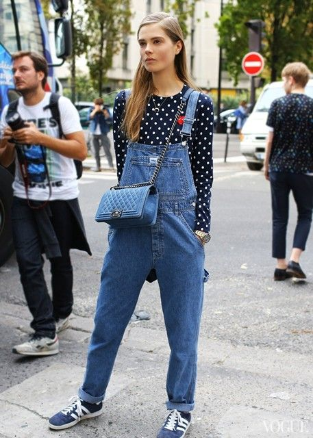 Denim dungarees & Adidas Gazelles | AnOther Loves