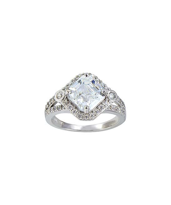 Assher Cut Cubic Zirconia & Sterling Silver Bridal Ring