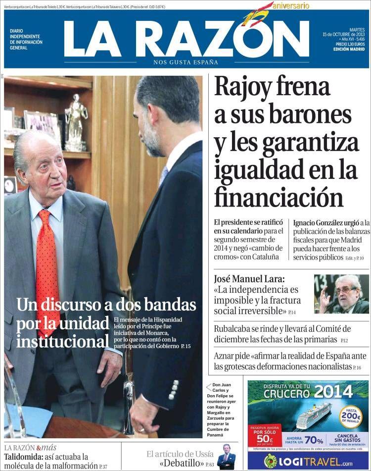 Los Titulares Y Portadas De Noticias Destacadas Españolas Del 15 De Octubre De 2013 Del Diario La Razón Que Le Pareció Esta Portada De Este Diario Español