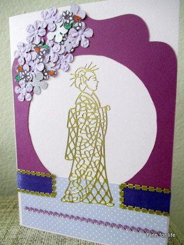 Handmade card with geisha theme