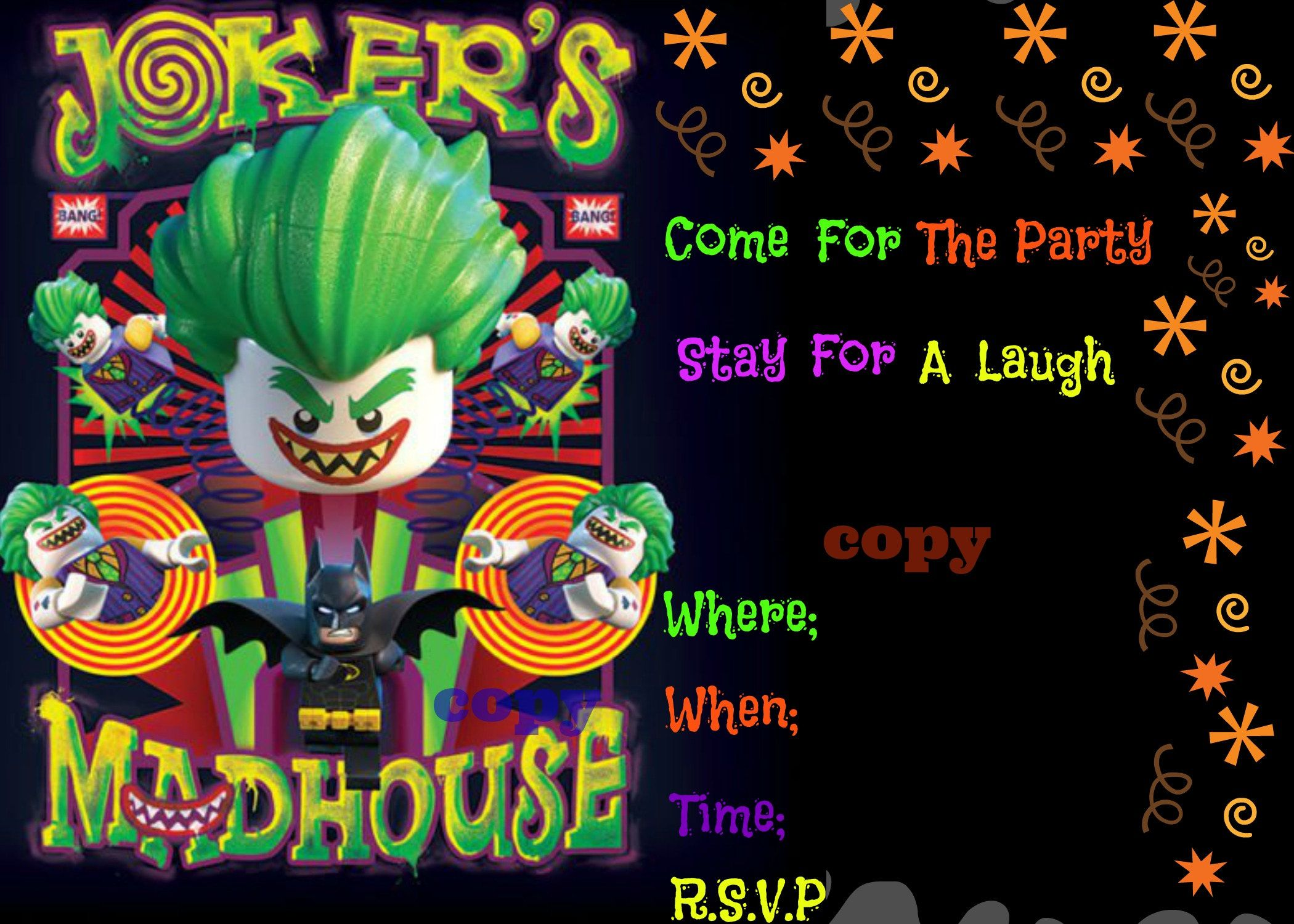 Digital Birthday Invitation~Digital Joker Birthday Invitation~Lego ...