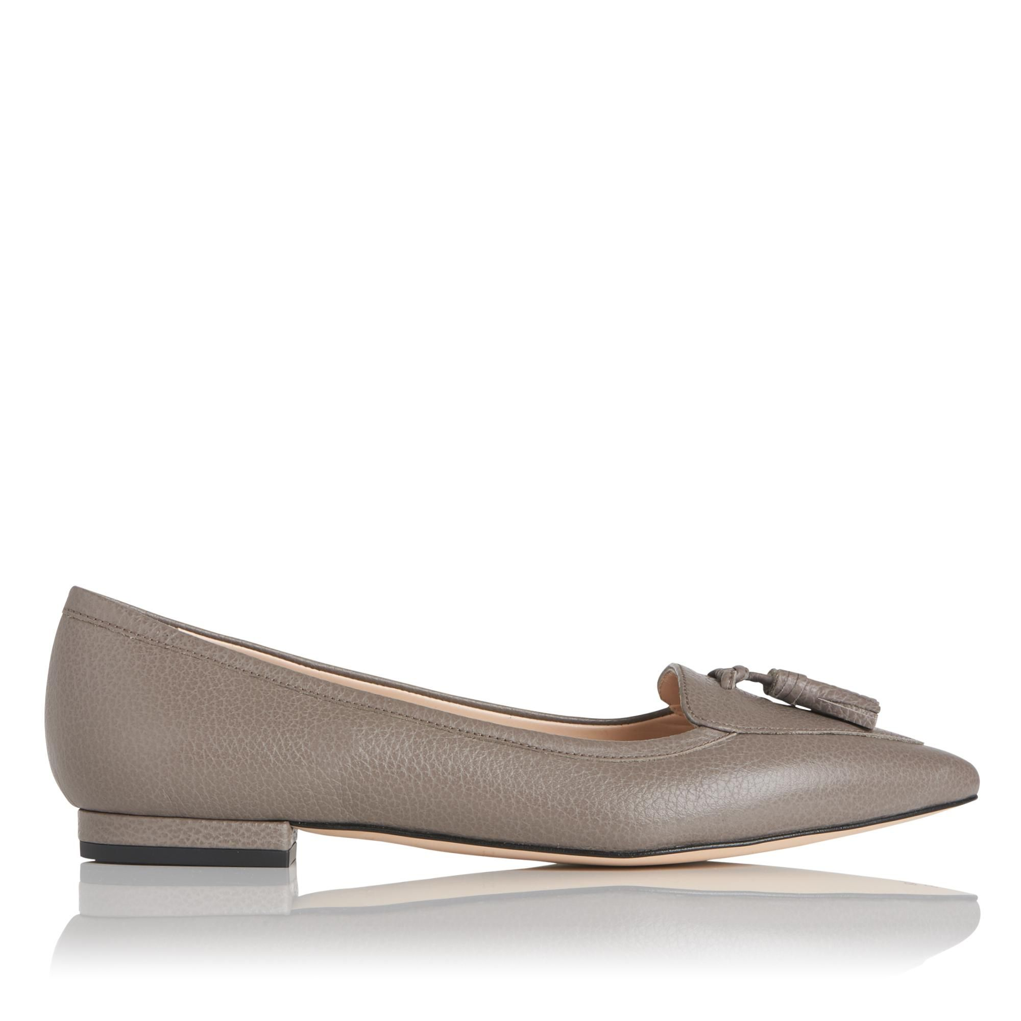 Dixie Grey Leather Flats | Shoes | L.K.Bennett