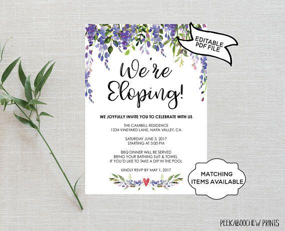 Wedding Elope Invitation Printable Elopement Editable pdf Template Elopement Announcement We Eloped Bella INSTANT DOWNLOAD