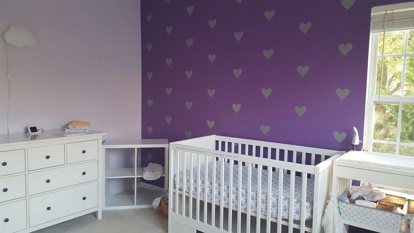 Silver Hearts Dark Purple Accent Wall