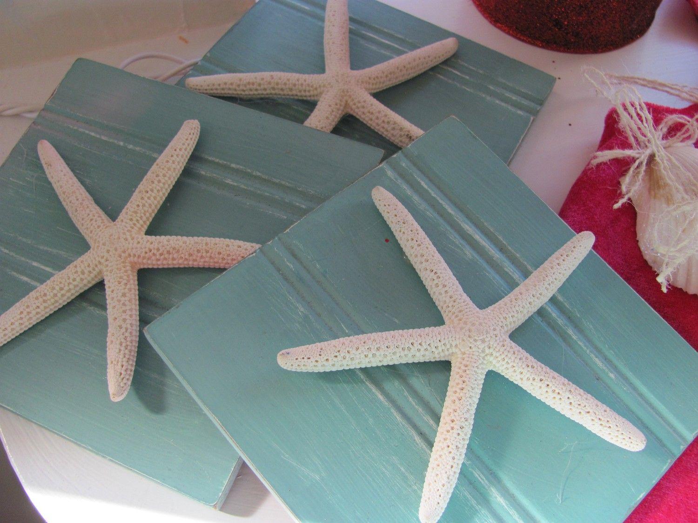 Aqua Starfish Plaques Wall Decor Set Of 3 By Vintageshore