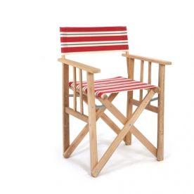 Sedia Da Regista Legno.Sedia Da Regista A Righe Rosso Bianco Blu Sedia Regista Rosso