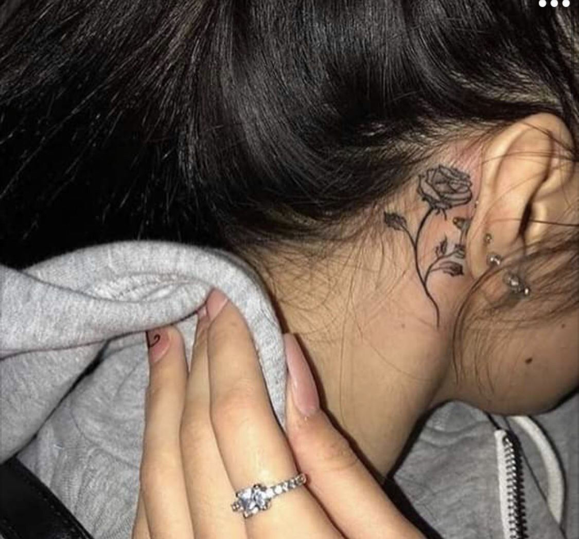 Behind The Ear T A T T Behind Ear Tattoos Girl Neck Tattoos