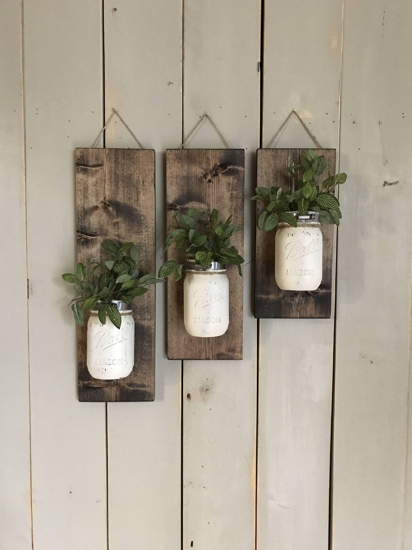 Fall Wall Sconce | Individual Mason Jar Sconce | Cream wall Sconce | Rustic Decor | Painted Mason Jar | Floral wall sconce