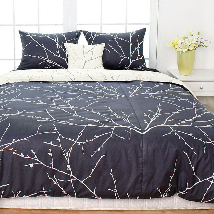 1100TC Charcoal Gray & Cream Branches King Duvet Cover Set