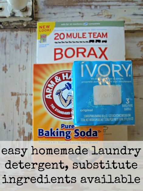 easy homemade laundry detergent with substitute ingredients listed - I've been using this for years and it really works!