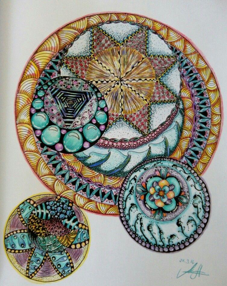 farbexperiment  zeichnen zentangle acryl