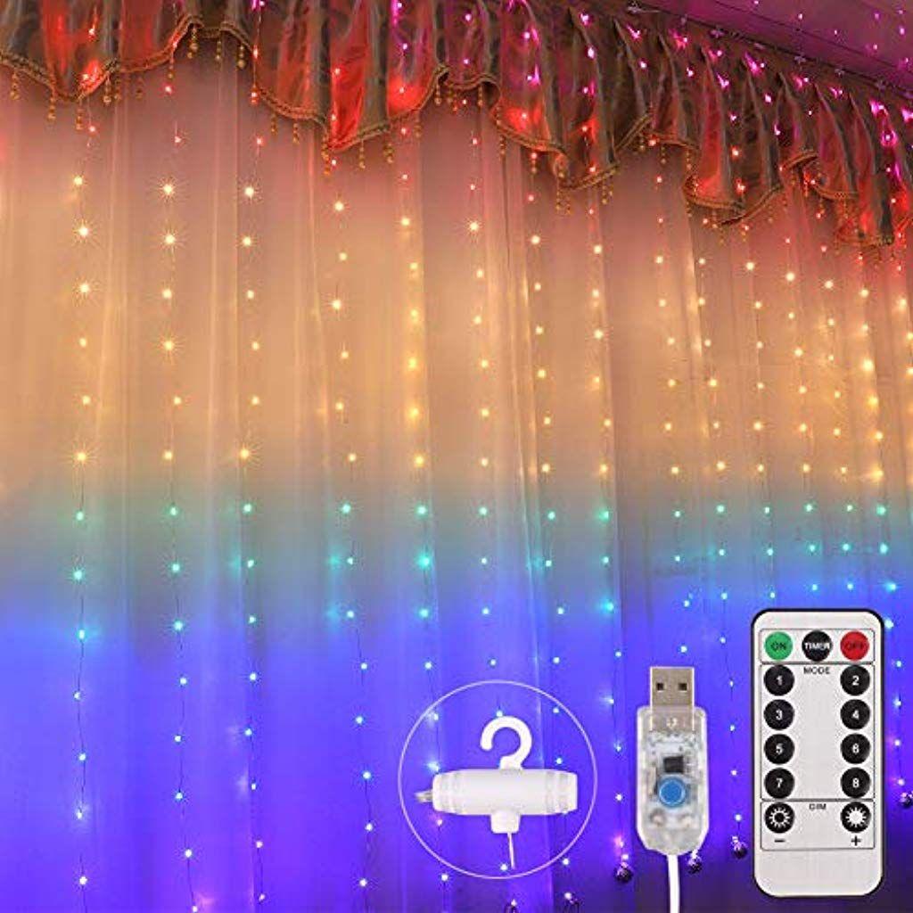 Pulchram Bunt Led Usb Lichtervorhang 2m X 1 5m210 Leds Usb Lichterkettenvorhang Mit 8 Modi Wasserfest Fur Partydeko Lichtervorhang Innenbeleuchtung Beleuchtung