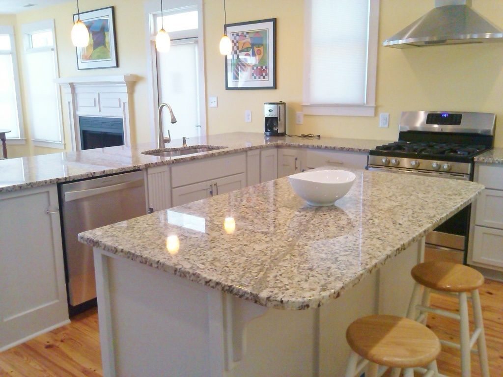 Venetian Ice Granite With Gray Cabinets Painted With