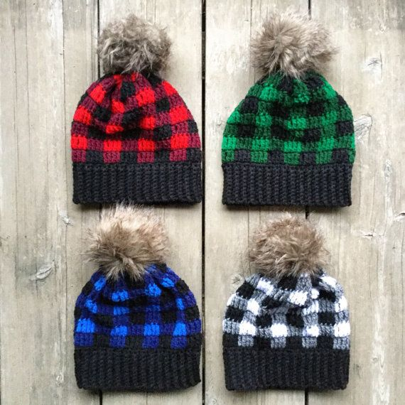 Buffalo Plaid Hat with Fur Pom Pom Child by NobleCharacterCrafts Plaid  Crochet c41f389fce7