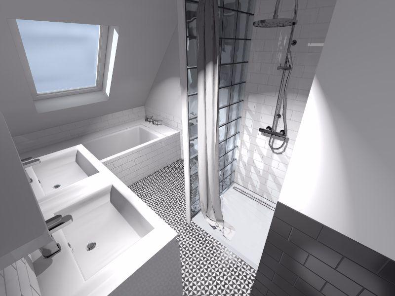 Salle de bain noir et blanc en sous pente / Eiffel art construction