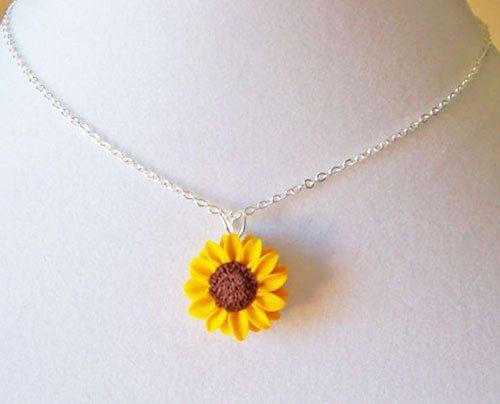 Sunflower Necklace Sunflower Jewelry Sunflower Pendant