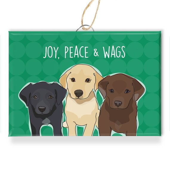 Labrador Retriever Dog Christmas Ornaments - Joy Peace and Wags