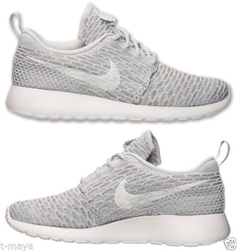 best website bfcaa d0159 Trainers Nike ROSHE ONE FLYKNIT CASUAL Womens M RUNNING MESH GREY WHITE  PLATINUM NEW