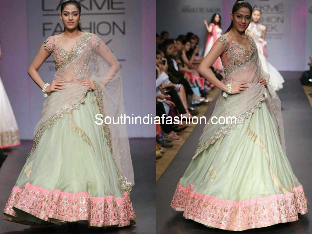 Half saree blouse design bridal half saree by anushree reddy  lakme fashion week half saree