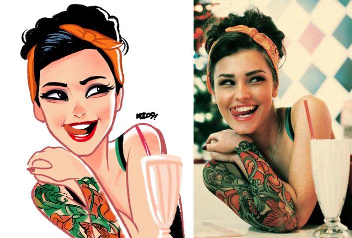 Artista Brasileiro Transforma Pessoas Em Desenhos Fofos Meninas