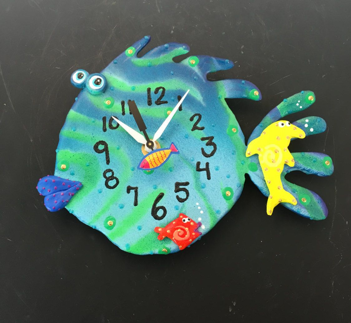 New to pondscumceramics on etsy kids clock nursery wall new to pondscumceramics on etsy kids clock nursery wall clockocean under the seaaquarium clay fish wall clock for ocean nursery theme usd amipublicfo Images