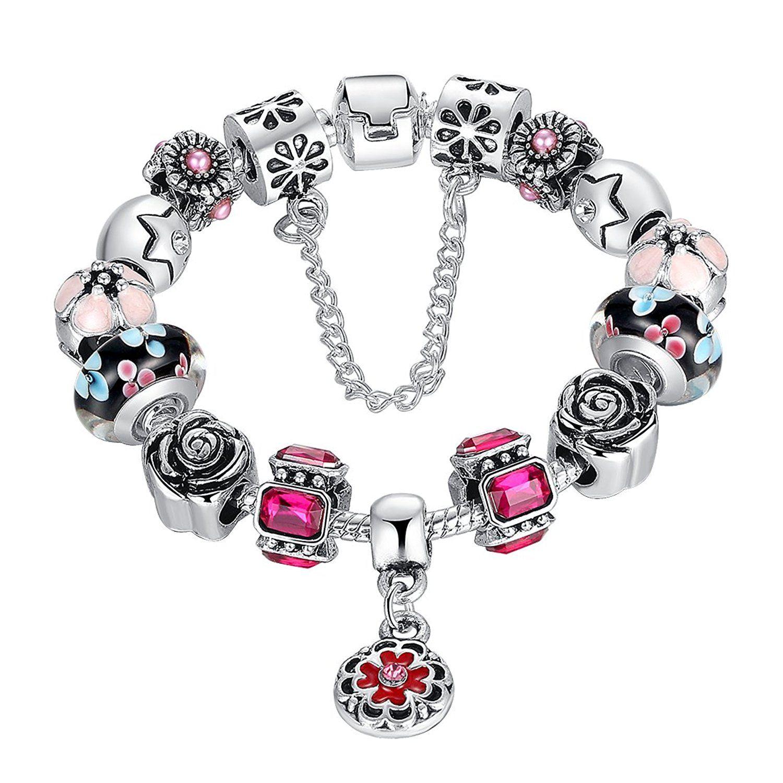 Bamoer lucky charm snake chain bracelet vintage european style