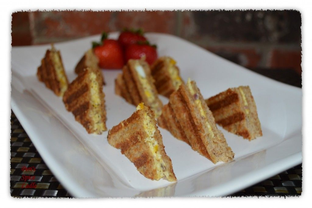 Perfect high tea egg salad sandwiches mayo in them food egg salad with bell peppers in a toastie style panini sandwich peris spice ladle forumfinder Choice Image