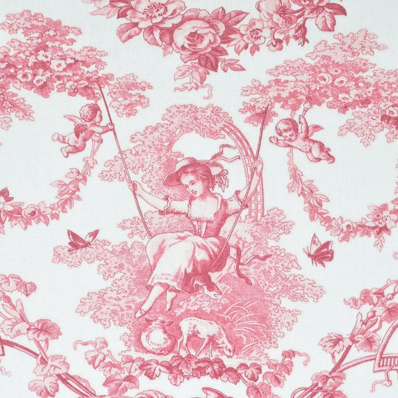 French Home Decor Fabric Red Toile De Jouy Cotton By Metre 110 Inches 280  Cm By