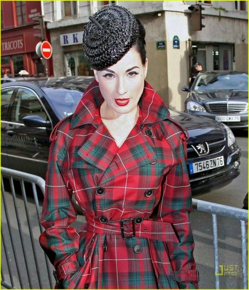 Dita Von Teese Tartan Mac Coat