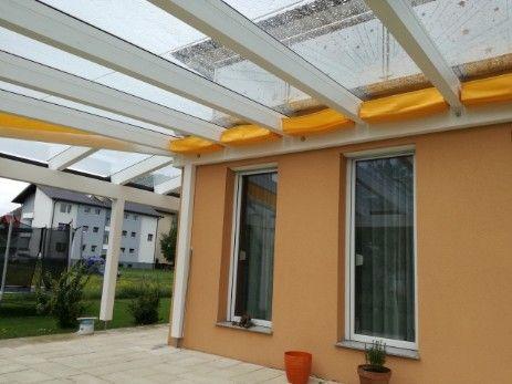 Sonnenschutz Seilzug Terrasse In Farbe Gelb Eingefahren Garten