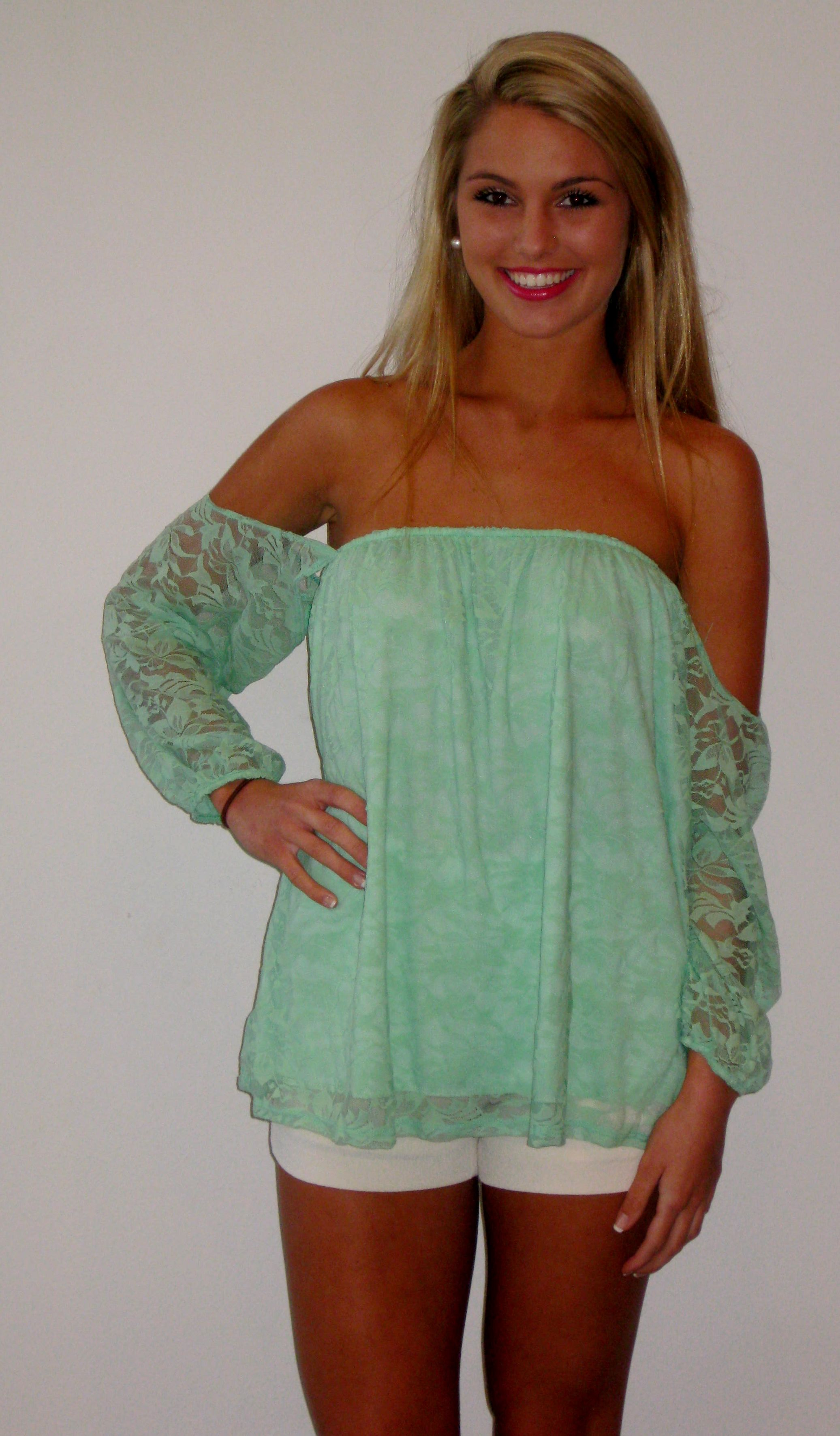 Mint lace off the shoulder top nothing but new pinterest