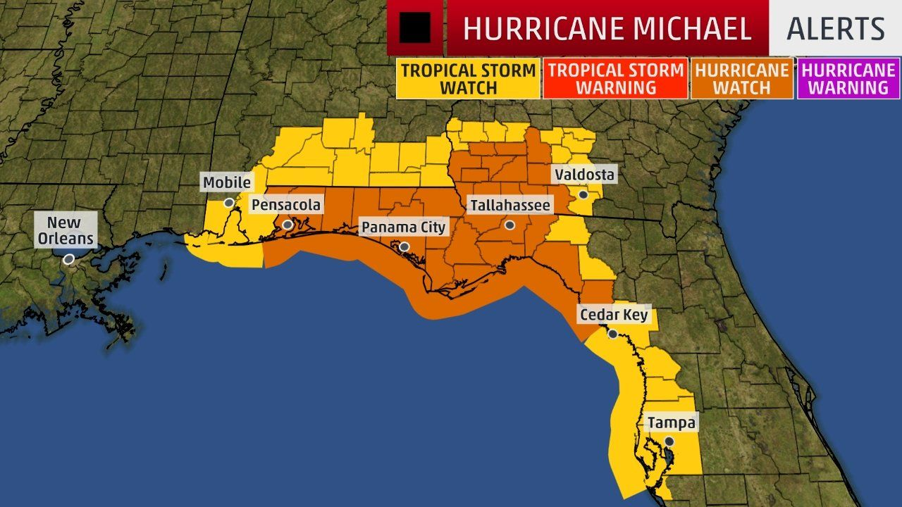 Hurricane Michael Forecast To Intensify And Bring A Dangerous Threat Of Storm Surge Damaging Winds To Florida Panhandle Hurricane Warnings Issued The Weathe Hurricane Storm Surge The Weather Channel