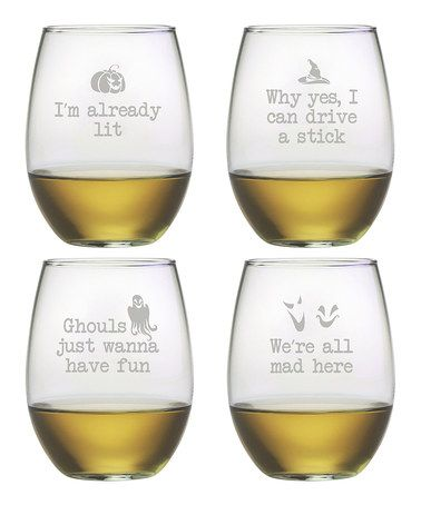 At zulily! 'Ghouls' Night Out' Stemless Wine Glass - Set of Four by Susquehanna Glass   Ghouls' Night Out' Stemless Wine Glass - Set of Four by Susquehanna Glass $34.99  / Retail: $50.00 Here classic design and subtle festivity combine to form sophisticated glassware   dishwasher-safe    Includes four glasses 3'' W x 4.63'' H x 3'' D Each holds 21 oz. Glass Dishwasher-safe Made in the USA