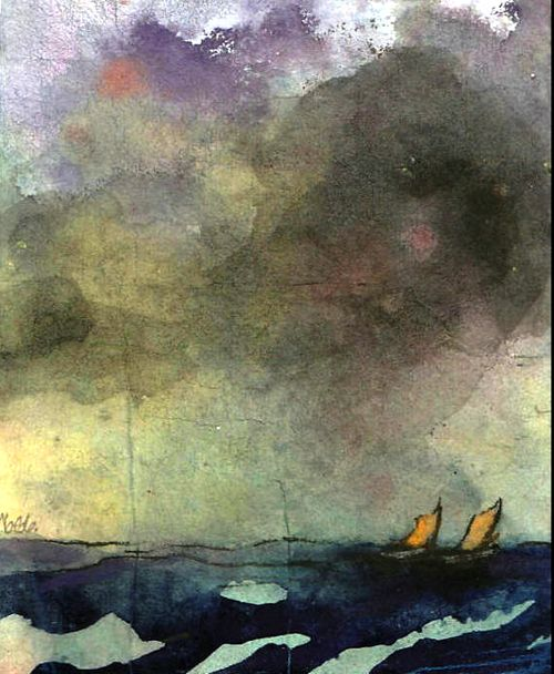 bofransson: Sea with two Sailboats Emil Nolde