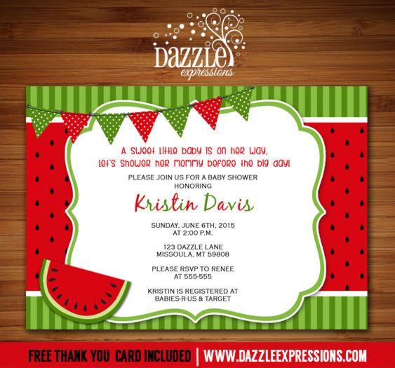 Printable Watermelon Baby Shower Invitation Summer Picnic - picnic invitation template