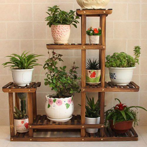 Wooden Plant Flower Herb Display Stand Shelf Storage