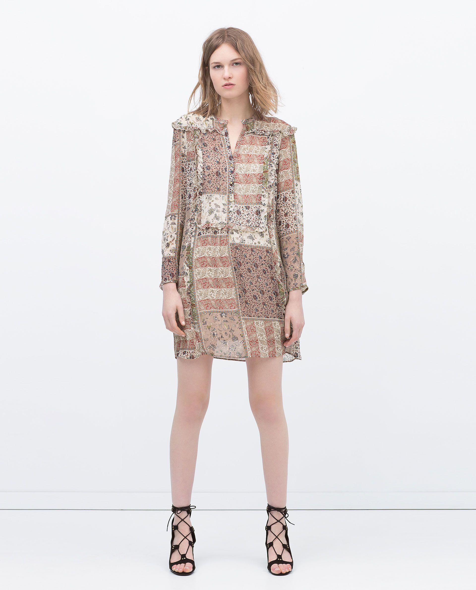 15e21253068f2 FRILLED BIB PAISLEY DRESS - View all - Dresses - WOMAN | ZARA Qatar ...