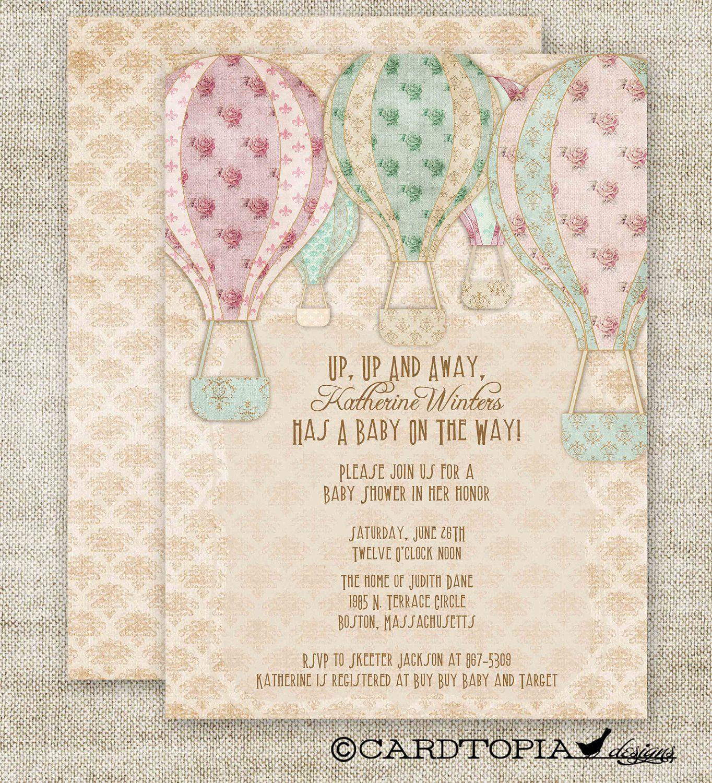 Hot Air BALLOON BABY SHOWER Invitations Custom diy Printable Vintage ...