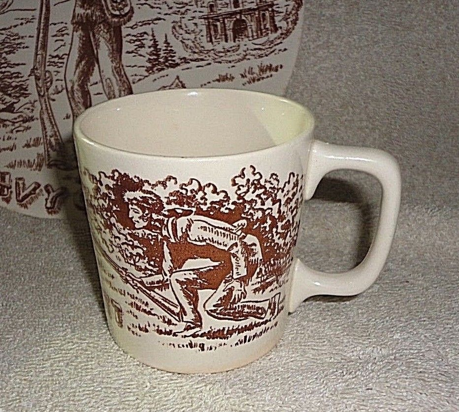 Vtg 1950s Davy Crockett Coffee Cup Mug Western Indian