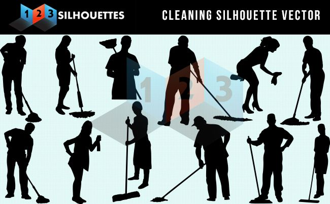 Cleaning Services Silhouette Vector Download EPSVector Silhouette Graphics