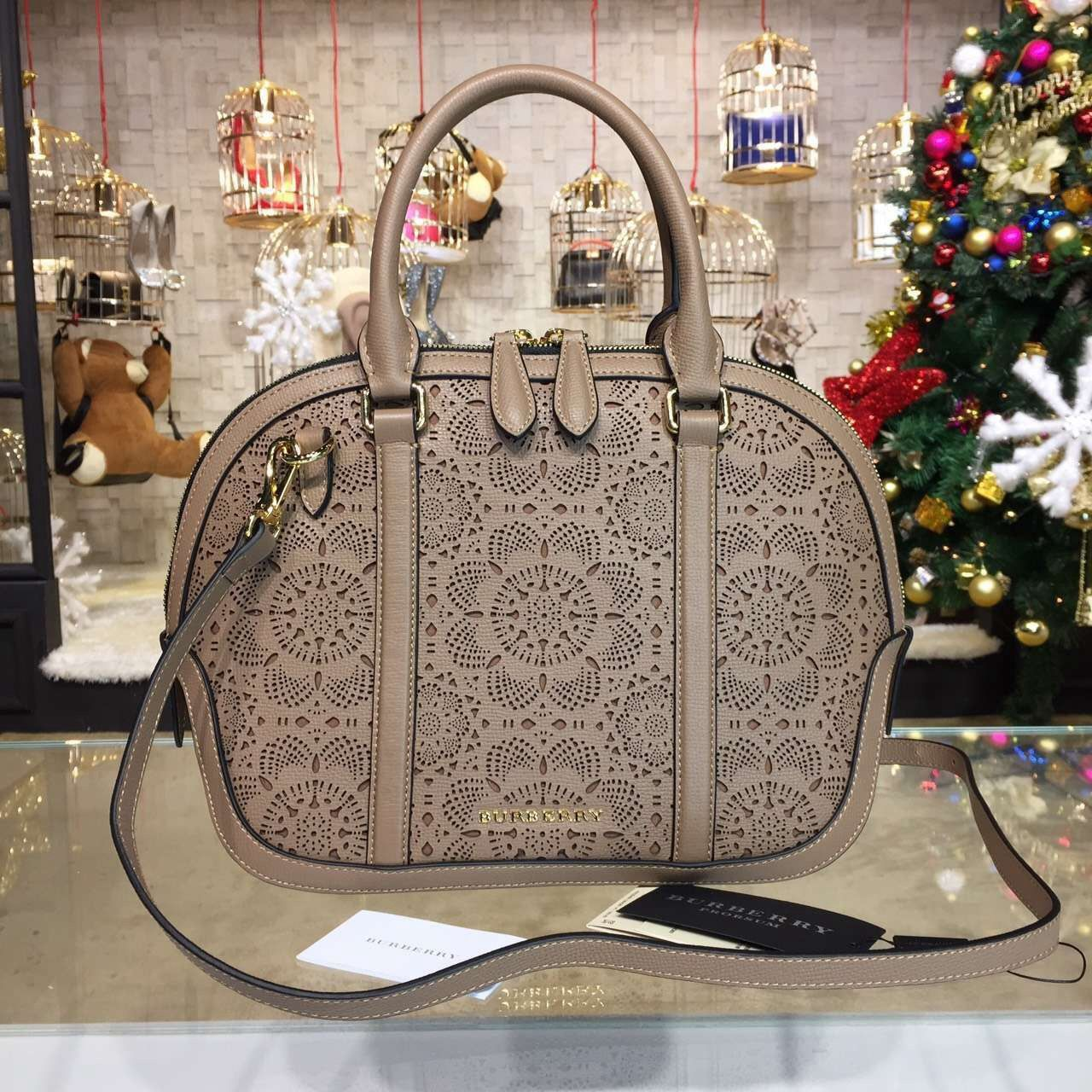 Burberry Small Orchard Bowling Bag In Lace Leather Brown S S 2016 ... f9b54a50e5e84