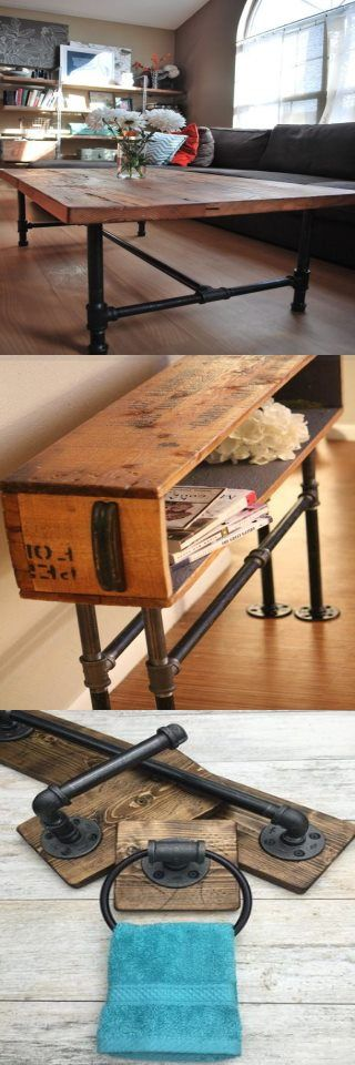 Photo of Wood Coffee table with steel pipe legs made of reclaimed wood, 18″ tall x 48″ L …