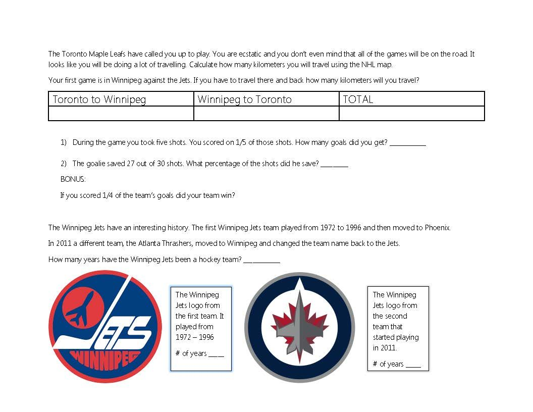 Hockey Themed Worksheet For Math And Geography